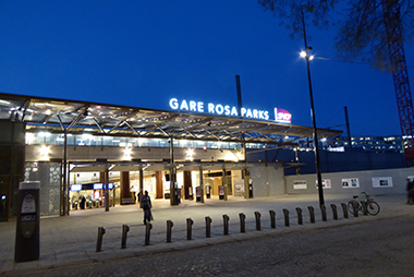 Gare Rosa Parks (RER E) at Twilight