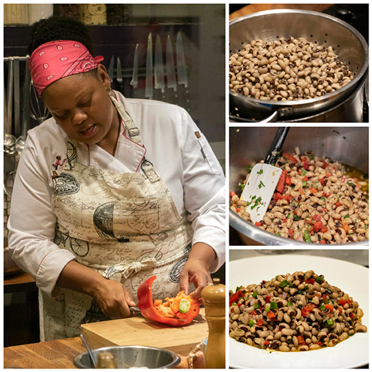Making black-eyed pea salad
