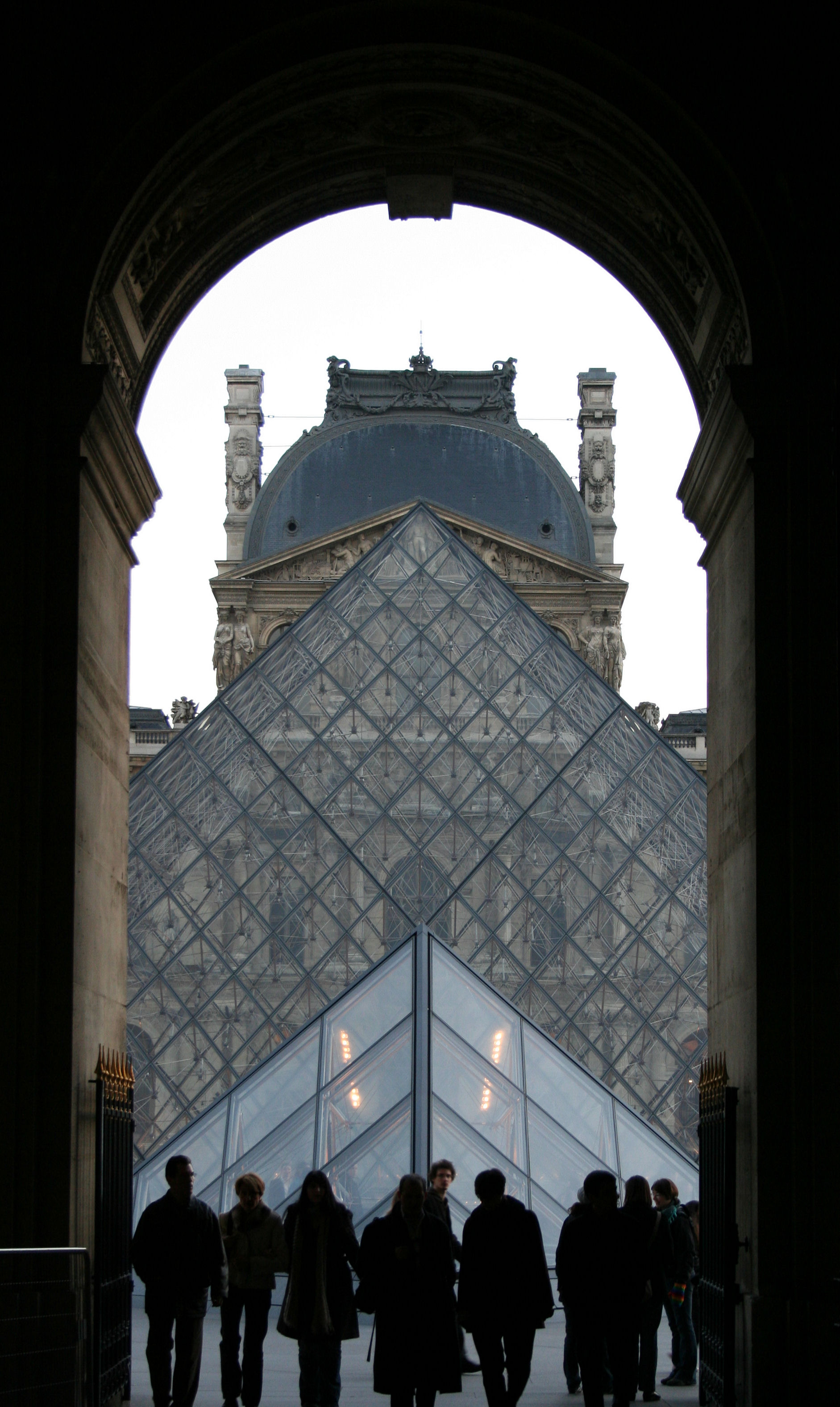 Louvre pyramids viewed from passage