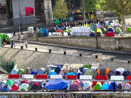 Migrant camp in Paris
