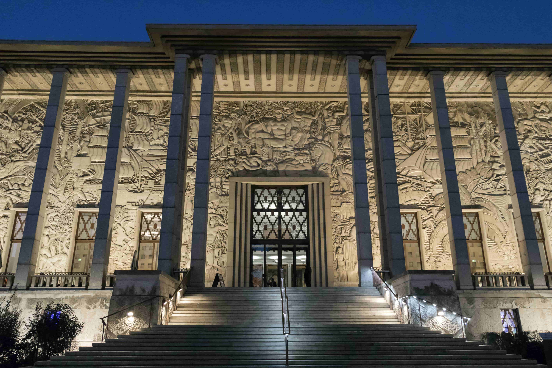 Palais de la Porte Dorée at dusk